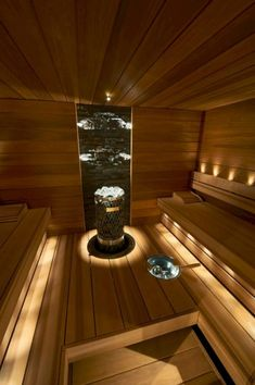 42 Marvelous Home Sauna Design Ideas - Page 14 of 42 Basement Sauna, Sauna Room, Basement Ideas, Master Bathroom Tub, Small Bathroom Tiles, Vintage Bathrooms, Rustic Bathrooms, Modern Saunas, Sauna Lights