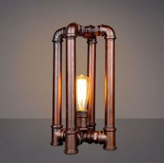 Vintage-Steampunk-Industrial-Antique-Iron-Pipe-Light-Quadrupod-Table-Desk-Lamp