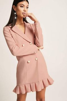 Box-Pleated Blazer dress from Forever Love the blush color and sophisticated look, especially for the price! Dress Outfits, Fashion Outfits, Womens Fashion, Maxi Dresses, Party Dresses, Coats For Women, Clothes For Women, Tuxedo Dress, Long Sleeve Mini Dress