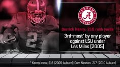 Derrick Henry: 38 carries, 210 rushing yards, 3 TD - 4th player to rush for 200 yards vs LSU under Les Miles