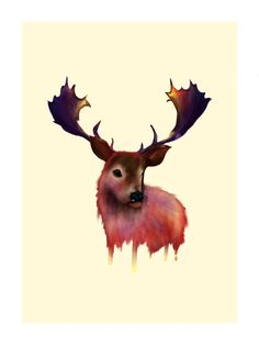 The Deer animal illustration. 12 x 16 print on premium matte paper. Deer Illustration, Illustrations, Living Room Art, New Artists, All Art, Moose Art, Watercolor, Prints, Painting