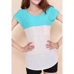 $7.31 Casual Style Scoop Neck Contrast Color Splicing Pocket Short Sleeve T-Shirt For Women