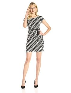 Sandra Darren Womens Cap Sleeve Printed Dress with Self Tie Ivory 14 -- Click on the image for additional details.