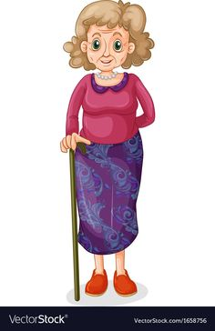 A beautiful grandmother Royalty Free Vector Image Old Lady Cartoon, Girl Cartoon, Grammar For Kids, Family Drawing, Illustrations And Posters, Old Women, Painted Rocks, Adobe Illustrator, Chibi