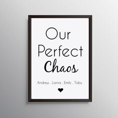 Excited to share this item from my shop: Personalised Family Print - 'Our Perfect Chaos' Personalised Family Print, Personalised Frames, Personalized Wall Art, Personalized Wedding, Quote Posters, Quote Prints, Simple Cartoon Characters, Family Drawing, Family Wall Art