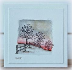 pink and grey fence card by Birgit