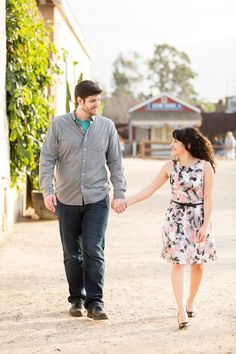 Couple walking around in Old Town in San Diego by Cavin Elizabeth Photography