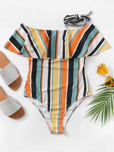 20abaf3a99 Striped Flounce One Piece Swimsuit -SHEIN(SHEINSIDE) Nice Bikinis, Women's  Bikinis,