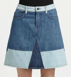 Proenza Schouler colorblocked denim skirt #Refashion inspiration #