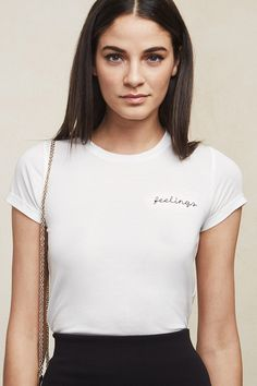 "If you or someone you know is feeling feelings, look no further than this t-shirt. It's best to just put it out there. The Feelings Tee is a soft eco knit tee with scoop neckline, cuffed sleeves and a ""feelings"" embroidery on the front.    https://www.thereformation.com/products/feelings-tee-white?utm_source=pinterest&utm_medium=organic&utm_campaign=PinterestOwnedPins"