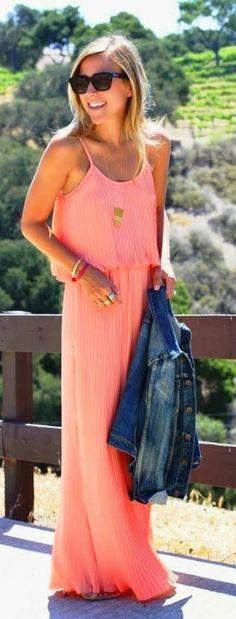 peach coral maxi dress, summer fashion, street style