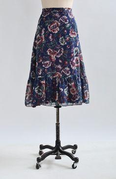 Pepperbox Poppy Skirt / vintage 1970s skirt / 70s poppy floral skirt