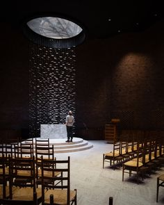 Curved brick surfaces are hidden behind the windowless exterior of this chapel by Modernist architect Eero Saarinen, captured by photographer Jim Stephenson