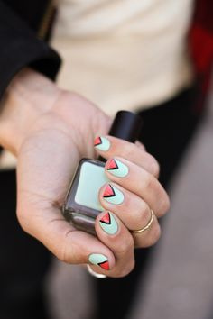 "Geometric nails for Spring using Urban Outfitters' ""Left Bank"" polish."