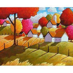 ORIGINAL PAINTING Folk Art Fall Farm Fields by SoloWorkStudio, $249.00