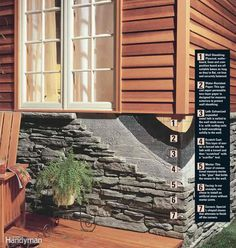 How to install stone facing on your house. This do-it-yourself alternative to real brick and stone doesn't require a brick ledge. Unlike earlier versions of artificial stone that looked fake, newer faux stone looks almost identical to the real thing. Outdoor Projects, Home Projects, Future House, My House, Airstone, House Siding, Brick And Stone, Home Repairs, House Colors