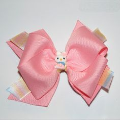 """Easter Bunny Hair Bow$8.00  On alligator clip with small bunny embellishment. Bow is Approx 4 """" #kids #girls #baby #hairbows #headband #hair #easter #flower #bow #babies #bunny"""