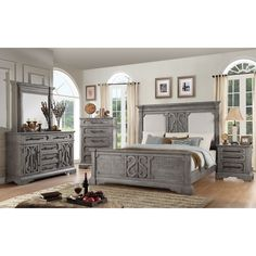 ACME Artesia California King Bedroom Set with Storage, Salvaged Natural Bedroom Panel, King Bedroom Sets, Wood Bedroom Sets, Bedroom Design, Bedding Sets, Bed, Furniture, Acme Furniture, California King Bedding