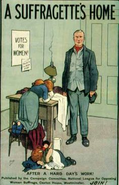 Scaring men into believing that if their wives want to vote, they'll stop taking care of the home