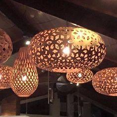 David Trubridge modern pendant Lighting made of wood at Skyline Rotorua.  Click image for where to buy.