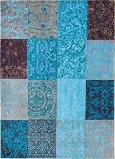 bol.com | Louis de Poortere Vloerkleed - Vintage Kelim Tapijt Turquoise 8105 60x90...