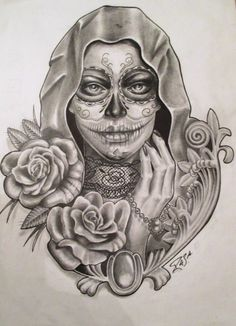 .. Skull Tattoos, Life Tattoos, Day Of The Dead Girl Tattoo, Catrina Tattoo, Cover Tattoo, Skull Art, Chicano, Tattoos For Women, Sketches