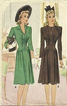 1940s Style Gathered Bodice V Neck Dress with Gathered Skirt