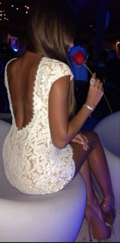 Lace dress with nude heels <3