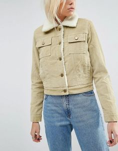 ASOS Cord Cropped Jacket in Stone with Fleece Lining and Collar  Heavyweight cord  Borg lining  Spread collar  Button placket  Functional pockets  Cropped design  Regular fit - true to size  Machine wash  100% Cotton