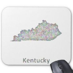 Kentucky map mouse pad $12.10 *** Colorful line art design map of Kentucky state. - mouse pad