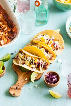 Sweet & Spicy Baked Salmon Tacos with Mango Salsa & Avocado Lime Crema - The Kitchen McCabe