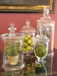 Filled with a variety of fruit or plants