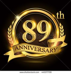 89th golden anniversary logo with ring and ribbon, laurel wreath vector design. - stock vector