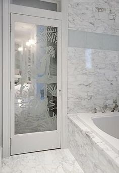 Love this vintage Deco etched glass door! Etched Glass Door, Glass Etching, Stand Alone Tub, Classic Bathroom, Unique Doors, Pocket Doors, Tropical Houses, White Houses, Mansions