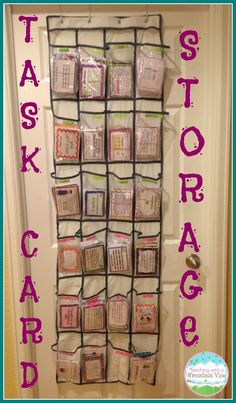 Using an over the door shoe hanger to store task cards!  You can fit SO many in this way.
