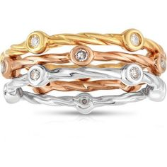 1/5 Carat T.W. White Diamond Tri-Color Silver Three Stacking Bands Fashion Ring, Women's, Size: 6