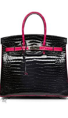 Vintage Hermes ● 35Cm Black & Rose Shocking Shiny Porosus Limited Edition Birkin