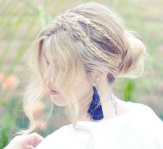 Crown braid updo for a bridal or bridesmaid style