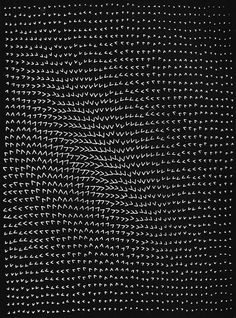 A drawing by the pioneering computer artist Masao Komura, from 1968. It's called Optical Effect of Inequality. (via betonbabe) ) —-___))))
