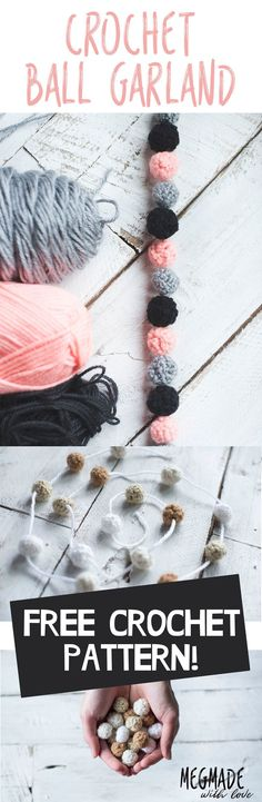 Howdy! (haha who even says that...) I've a super cute n' dainty crochet pattern for you today. A lovely little crochet ball garland! You may have seen images of these in the dreamy nursery photos on Instagram-- except their made of felted wool. So I set out to make a crochet version! These were insp