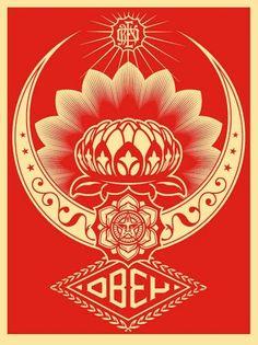 Lotus Ornament Red 2008 by Shepard Fairey - Limited Edition Print Obey Wallpaper, Iphone Wallpaper, Yarn Bombing, Brainstorm, Shepard Fairey Art, Omg Posters, Graffiti, Obey Art, Bokashi
