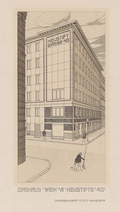 Otto Wagner, perspective drawing of the apartment building at Neustiftgasse 40, Vienna, 1909. Image © Wien Museum.