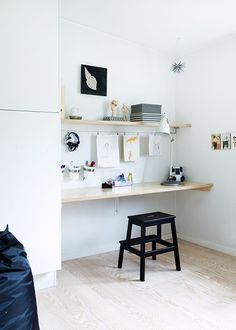 interior, home, studio, stool, bench, work space, desk, shelf, storage, office