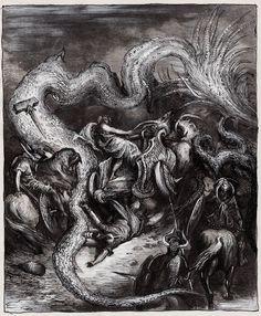 Germanic Mythology - Thor and Jormungand by masiani