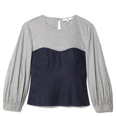 Tibi Hessian Linen Corset Top ($395) ❤ liked on Polyvore featuring tops, peplum tops, navy blue top, bustier corset tops, navy peplum top and ribbed top