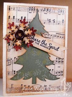 Ideas For Holiday Cards Handmade Sheet Music Homemade Christmas Cards, Christmas Cards To Make, Xmas Cards, Homemade Cards, Handmade Christmas, Vintage Christmas, Christmas Decorations, Christmas Projects, Holiday Crafts