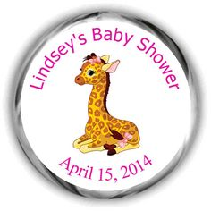 Giraffe Baby Shower Stickers  Baby Shower by FabPartyPrints
