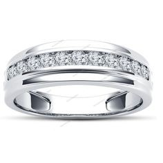 1.05CT Round Cut Simulated Diamond 14K White Gold Finish Men's Wedding Band Ring #aonedesigns #MensEngagementRing