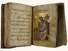 The Four Gospels Linen paper Unknown provenance, 1226 A.D. The four Gospels in Arabic are decorated with punctuation marks as gilt rosettes and miniatures of the four evangelists. This illumination shows St. John painted in tempera and gold.