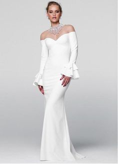 Alluring Acetate Satin High Collar Neckline Sheath / Column Evening Dresses With Beadings